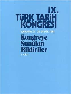 Türk Tarih Kongresi 9/1, 1986